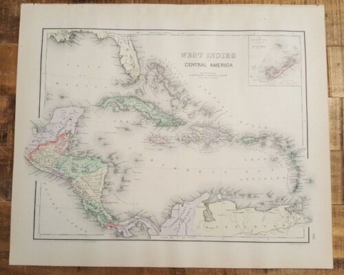 Antique Colored MAP/GRAY'S - WEST INDIES (CENTRAL AMER)- The National Atlas 1893