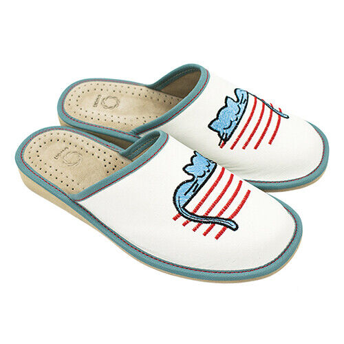 Womens Ladies Slippers Sandals Natural Leather CAT NOVELTY ALL SIZES