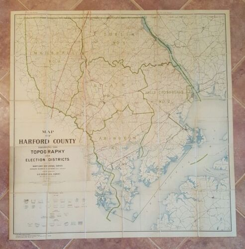 LARGE MARYLAND MAP - HARFORD COUNTY topography & Election Districts - 1922