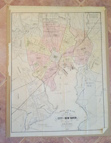 VERY SCARE - NEW MAP OF THE CITY OF NEW HAVEN, CONNECTICUT - 1888/S.W. Searle