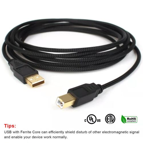 AU 2M 3M 5M Lot Braided USB 2.0 Cable Type A Male to Type B Male Printer Cable
