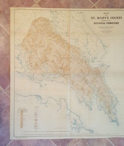 VERY LARGE - ST. MARY'S CO, MD MAP - Geological Formations/Linen Backed 1903