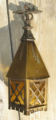 Vintage Art Deco Arts & Crafts Stained Glass Lantern Hanging Lamp Light
