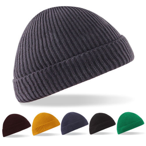Fisherman Beanie Knitted Ribbed Hat Retro Vintage Mens Womens Cap Colorful  soft f4475b7d8049