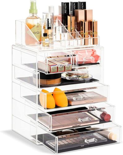 Sorbus Acrylic Cosmetics Makeup and Jewelry Storage Case Display with Drawers