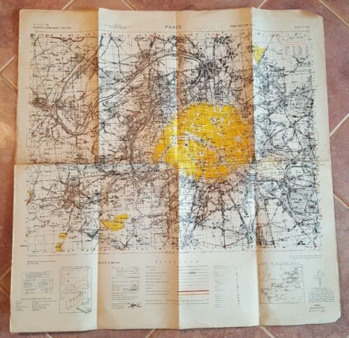 BRITISH WWII - 1944 ANTIQUE, COLORED - EUROPE ROAD MAP - PARIS