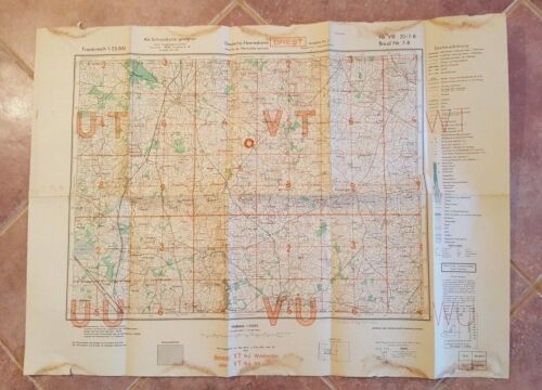 WWII 1944 - GERMAN MAP - BAUD, PLUVIGNER & PLUMERGAT, FRANCE
