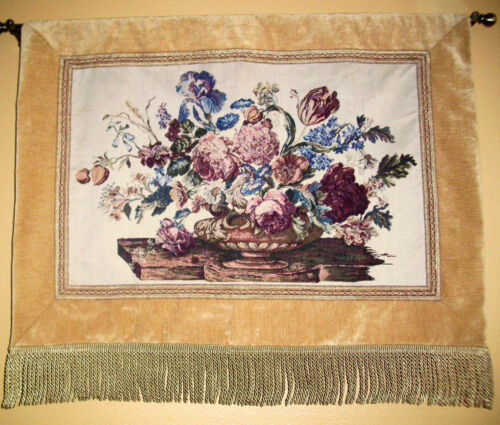 """36""""  Tuscan Urn Floral Tapestry Wall Art Gold/Beige Brocade Edge and 5"""" Fringe"""