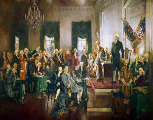 Howard Chandler Christy The Sigining Of The Constitution Canvas Print  #3478