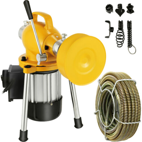 400W Drain Cleaner Electric Eel Rigid Plumbing Sewerage Pipe Machine w/ Cutters <br/> ✅Cable (Snake) :20mx16mm&3mx10mm ✅ For Pipes: 20-100 mm