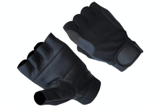 A&H Apparel Mens Premium Genuine Lamb Fingerless Leather Driving Gloves
