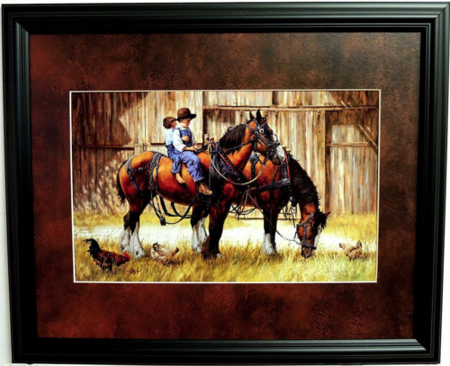 WESTERN COWBOY PICTURE BACK TO THE BARN CHILDREN JIM DALY MATTED FRAMED 16X20
