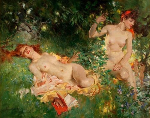 Howard Chandler Christy Nymphs In Summer Canvas 16 x 20    #3473