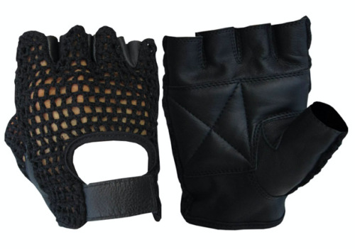 Leather Net Driving Weight Training Cycling Wheelchair Fitness Gloves