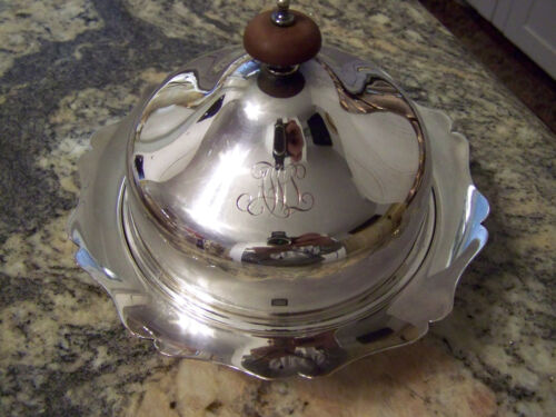 BARKER BROTHERS DUBLIN PATTERN SILVER COVERED BUTTER DISH 3 PART INSERT FOR ICE