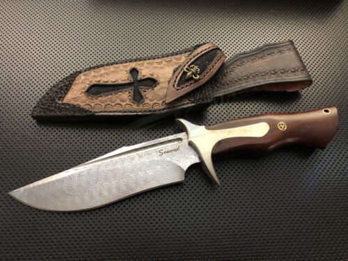 Damascus Hunting Bowie Knife Leather Vintage Hand Made Sheath Fixed Blade SharpKnives - 42574