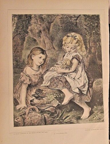 Children, Girls Playing With Doll, A Foundling, Vintage 1871 Antique Art Print