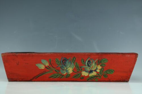 A Mongolian red lacquer wooden sewing box with flower pattern design