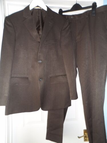 "Taylor & wright smart brown pinstripe 2-piece suit chest size 38"" waist 34"""