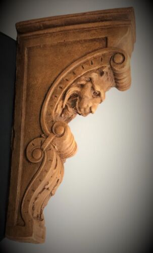2 NARROW LION FACE SCROLL CORBEL BRACKETS ARCHITECTURAL ACCENT WOOD STAINED