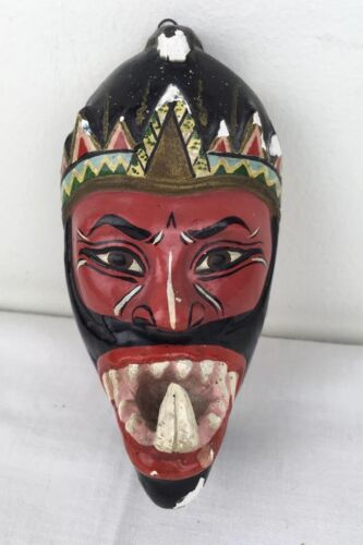 """Vtg Mini 5"""" Wall Mask Red Face Big Tooth Day of Dead Tiki Handpainted Chalkware"""