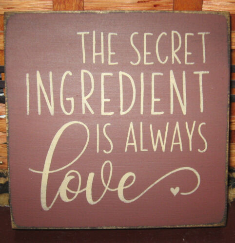 PRIMITIVE  COUNTRY THE SECRET INGREDIENT IS ALWAYS LOVE mini  sq SIGN