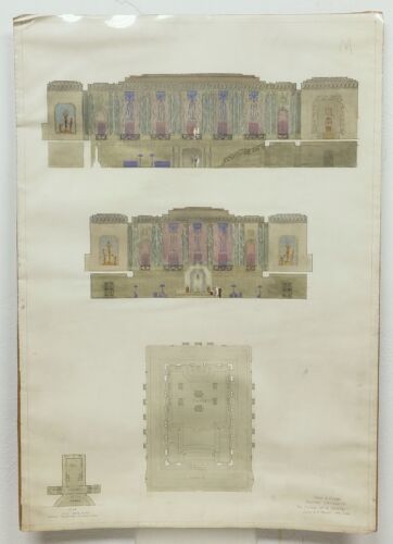 Antique 1928 Architectural Watercolor Drawing Theodore A. Vierra Harvard Univ.