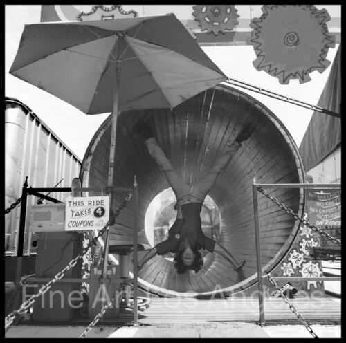 Neal White Photo, Man on Spin Ride, circus sideshow, 1970s