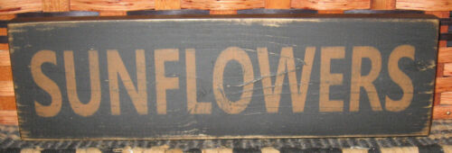 """PRIMITIVE  COUNTRY SUNFLOWERS 12"""" SIGN"""