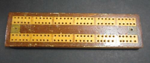 "ANTIQUE 1800'S WOOD CRIBBAGE BOARD 8 1/4"" LONG"