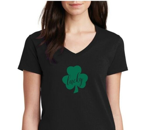 6b8df477 Women's V-neck Lucky #2 Green Clover T Shirt Irish Shamrock St Patrick's Day