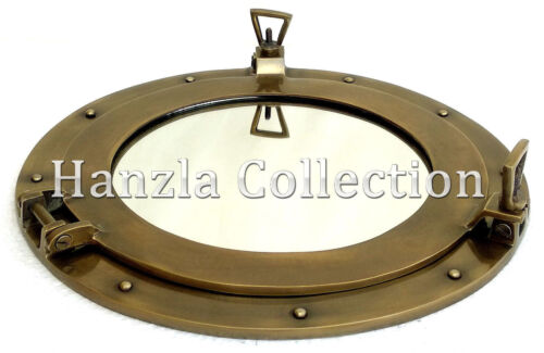 "15"" Antique Brass Window Porthole Maritime Nautical Ship Port Mirror Wall Decor"