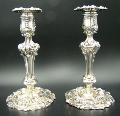Ornate Pair of George III Sterling Silver Candlestick Sheffield Younge & Co 1821
