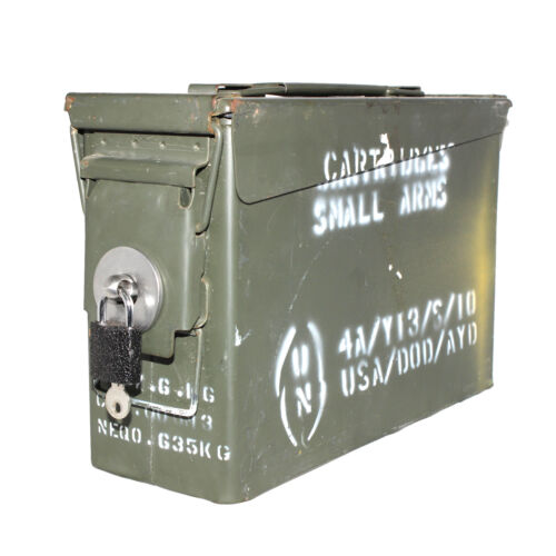 "30 CAL ""LOCKABLE"" Ammo Box Ammunition Steel Box Tool Box Ex Army Used CODE: AB1LOther Hunting - 383"