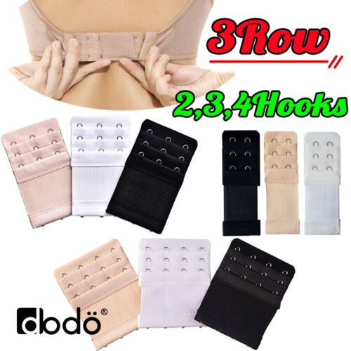 3ROW 2Hook 3Hook 4Hook Bra Extender Extension Elastic Back Clips Strap Strapless <br/> ✅3 ROW!!! Not a cheap 2 Row extender ✅More Room & Comfy