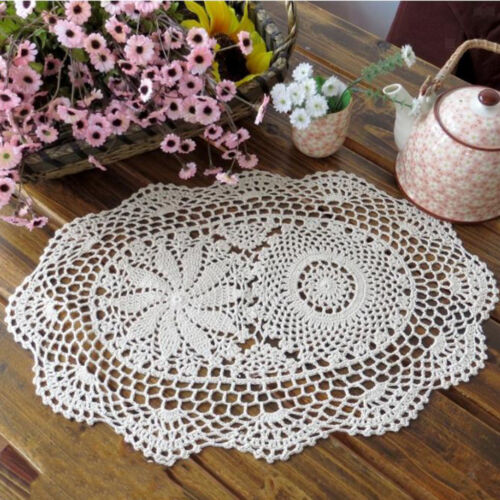 Handmade Crochet Doilies Placemat Oval Lace Doily Table Cup Mat 45x30cm