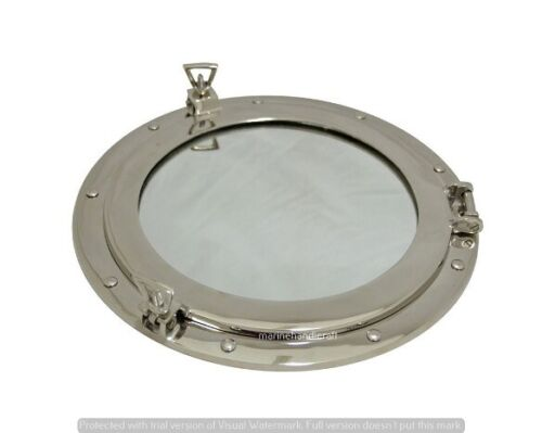 "Brass Porthole Window 15"" Chrome Finish Marine Ship Porthole Mirror Wall Decor"