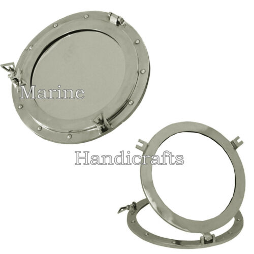 "Large Aluminum Chrome Finish 17"" Ships Porthole Mirror Round Nautical Wall Decor"