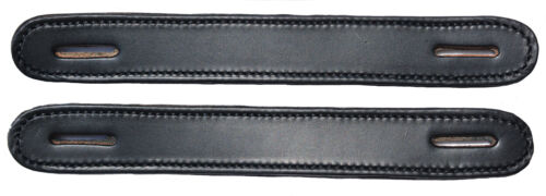 Lot of 2 Black Leather double and stitched Steamer trunk handles #100BLK