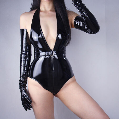 "LATEX LONG GLOVES Shine Leather Faux Patent PU 28"" 70cm Opera Evening Black"