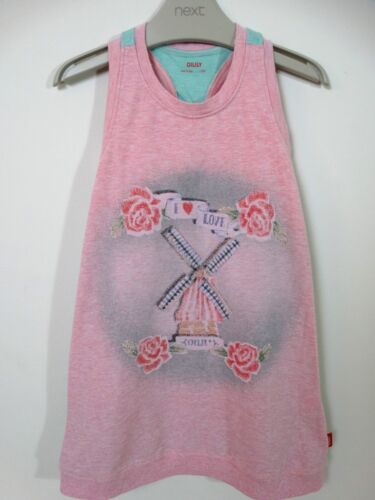 Oilily Designer Girls Summer Dress Pink Mint Windmill Size 4 Age 3-4 Years