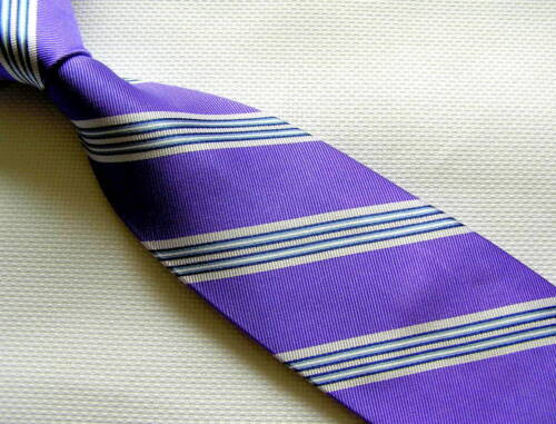 Mens Necktie Silk Tie Purple Grey Navy Strip BLACK  BROWN 1826