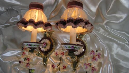 French Antique Hand Painted Pair Limoges Wall Sconces Bronze Lights Porcelain