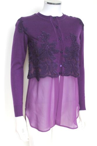 Ermanno Scervino Purple Wool Knit Embroidered Silk Cardigan It 42 uk 10