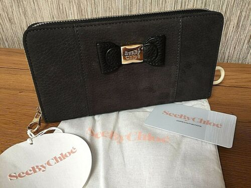 SEE BY CHLOÉ ZIP AROUND PURSE GRAPHITE LEATHER SUEDE BNWT