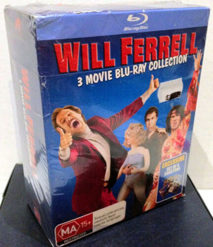 'Will Ferrell' 3 Movie Blu-ray Collection & SET of 4 Coasters - New & Sealed