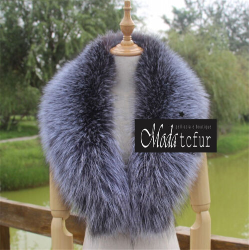COLLO PELLICCIA di VOLPE ARGENTATA FOURRURE RENARD silver FOX fur LIGHT SILVER