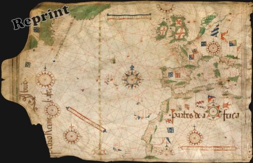 Wall Art Reprint of a Old Portuguese 1504 World Nautical Map   11x17