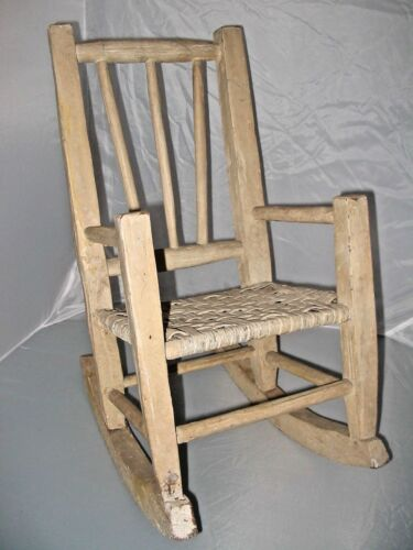 "CHILD'S ROCKING CHAIR - PRIMITIVE CANE SEAT ""INDIANA HICKORY CHAIR"" Antique  EUC"