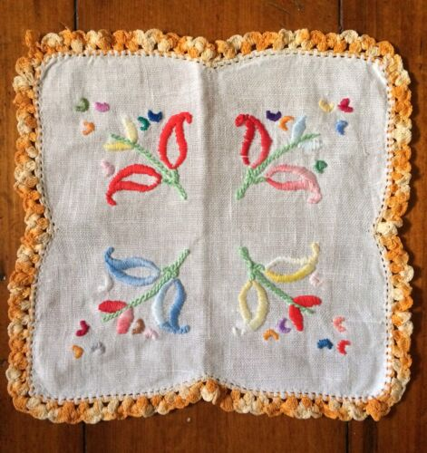Vintage retro kitsch floral embroidered doily